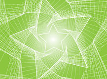 Abstract green background. White lines depicting star shaped forms with green background Stock Photo
