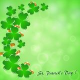 Abstract green background with clover and coins. Abstract green background with clover and gold coins  for St. Patrick`s Day Stock Image