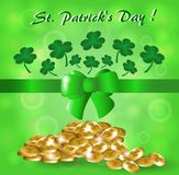 Abstract green background with clover and gold coins  St. Patrick. Abstract green background with clover and gold coins and green ribbon and green bow  St Stock Image
