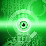Green background with eye and circuit. Abstract green background with eye and circuit. EPS10 vector background Royalty Free Stock Images