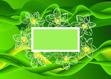 Abstract green background with flowers end text place Royalty Free Stock Photography
