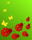 Abstract green background with ladybirds and butte Royalty Free Stock Image