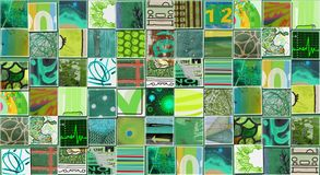 Abstract Green Background made with Small illustrations. Collage Royalty Free Stock Photo