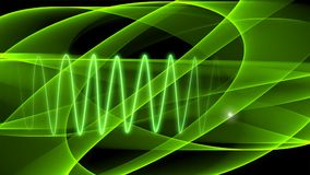 Abstract green background with moving transparent curves and radiant light green sinusoid