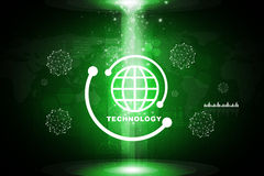 Abstract green background with planet icon Royalty Free Stock Image