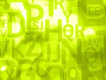Abstract green background with random letters Stock Image