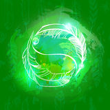 Abstract green background with silhouettes two feathers Yin Yang Stock Images