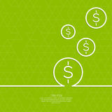 Abstract green background. With triangles and falling coins. For financial reporting, revenue growth, earnings, advertising contribution, add deposits and loans Royalty Free Stock Images