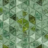 Abstract green background with triangles and hexagonal shapes layered in contemporary modern art design. Green background with triangles and hexagonal shapes stock image
