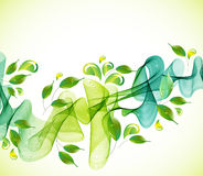 Abstract green background with wave and drops Royalty Free Stock Images