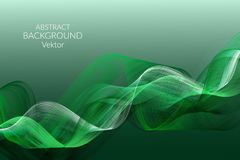 Abstract background Wavy light lines on a green background Design element for advertising posters cards Vector royalty free illustration