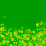 Abstract green background with yellow bokeh circles Royalty Free Stock Photo