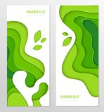 Abstract green banner - set of vector template illustrations. On white background with place for your info. Paper cut, carving art effect. Two vertical posters Stock Illustration