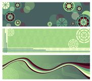 Abstract green banners. Set of abstract banners in green colors with circles and waves Royalty Free Stock Images
