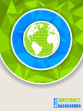 Abstract green blue brochure. With polygons and globe vector illustration