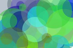 Abstract green and blue circles illustration background. Abstract minimalist green and blue illustration with circles useful as a background Stock Photo