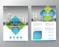 Abstract green and blue cross graphic element Vector brochure co. Ver flyer poster design layout template in A4 size Stock Photos