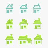Abstract green and blue icons house Royalty Free Stock Images
