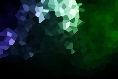 Abstract geometric polygons and triangles. Abstract green and blue polygons on black isolated background. Usefull for mock up, business cards and web backdrop Stock Image