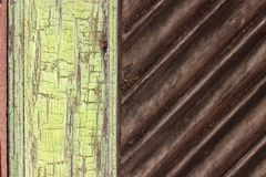 Abstract green and brown, wooden background. Detail of a old, wooden door  with green and brown surface Royalty Free Stock Photos