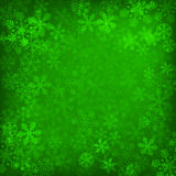 Abstract green christmas background. With snowflakes Royalty Free Stock Photos