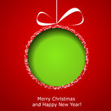 Abstract green Christmas ball cutted from paper. On red background. Vector eps10 illustration Stock Photos