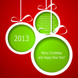 Abstract green Christmas balls. Cutted from paper on red background. Vector eps10 illustration Stock Photos