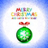 Abstract green Christmas balls cutted from paper on red background. Vector 2016 illustration Royalty Free Stock Image
