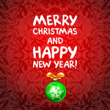 Abstract green Christmas balls cutted from paper on red background. Vector 2016 illustration Stock Photo