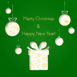 Abstract green Christmas balls and gifts cutted from paper on green background. Happy Hollidays and New Year. Christmas Royalty Free Stock Images