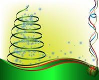 Abstract green christmas tree. With cold stars, present and ribbon royalty free illustration