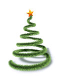 Abstract green christmas tree. With golden star, 3d render Stock Photo