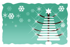 Abstract green christmas tree. With snow flakes vector illustration