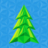 Abstract green christmas tree on blue. Background flat colors triangle shapes Royalty Free Stock Photos