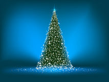 Abstract green christmas tree on blue. EPS 8 Stock Images
