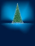 Abstract green christmas tree on blue. EPS 8 Stock Image