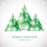 Abstract green christmas tree card. Christmas Tree from abstract transparent elements. Christmas card design. Christmas poster, t- Stock Photo