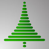 Abstract green christmas tree consist of rectangles with rounded corners on grey gradient background. Embossed Christmas tree to m Stock Photography