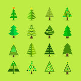 Abstract green Christmas tree icons set. On green background stock illustration