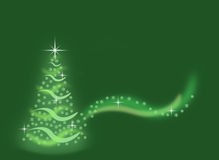 Abstract green christmas tree made from snowflakes with sparkles background Stock Images