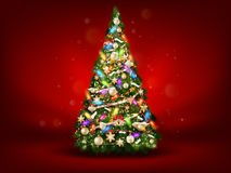 Abstract green christmas tree on red background. EPS 10 Stock Photos