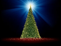 Abstract green christmas tree on red. EPS 8 Stock Photo