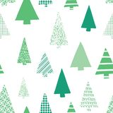 Abstract green christmas trees vector seamless pattern. Christmas tree silhouettes green on a white background. Modern Christmas. Design. Perfect for Christmas royalty free illustration