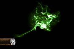 Abstract green cigar smoke cloud Stock Photography