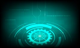 Abstract Green circle cog gear digital technology background, futuristic structure elements concept background Royalty Free Stock Images