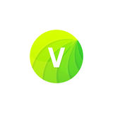 Abstract green circle ecology symbol. Clean organic icon letter Stock Images