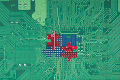 Abstract green circuit board puzzle background Royalty Free Stock Photos