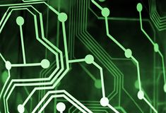 Abstract green circuitry. Abstract Circuitry with glowing back lighting Royalty Free Stock Photography