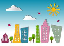 Abstract Green City. Colorful graphic illustration with shadows Stock Photography