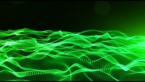 Abstract green color digital particles wave with bokeh and light background royalty free illustration